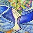 Hypothetische Vase mit Gedachten Blumen