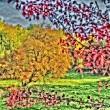 Stilisierte Herbstbäume