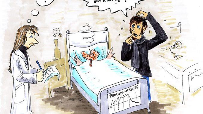 Ist der Online-Phoenix noch zu helfen? Karikatur aus dem Jahre 2007 (Grafik: Martin Dühning)