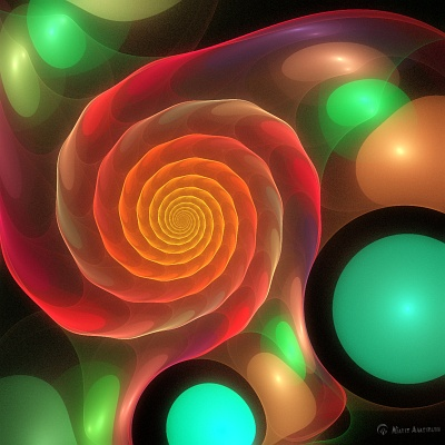 A colorfull blubbery snail-shell, made with Apophysis3D