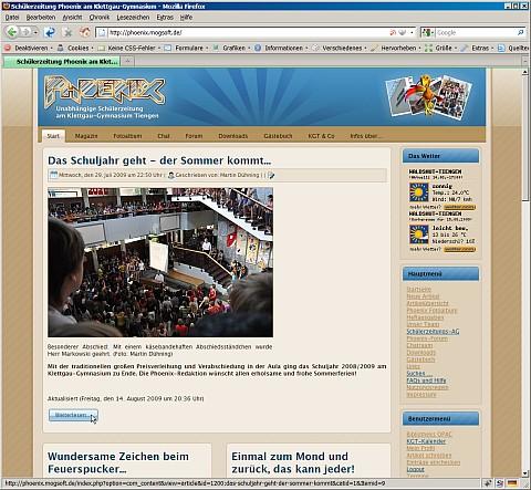 Das neue Design auf der Phoenix-Webseite