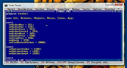 Das gute, alte Turbo Pascal: Damals ein Traum an Geschwindigkeit und Schlankheit, heute leider total veraltet.