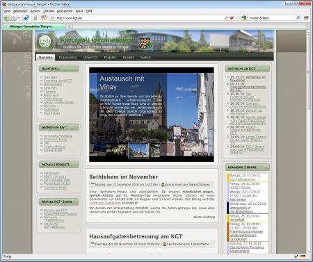 Die KGT-Webseite im November 2010
