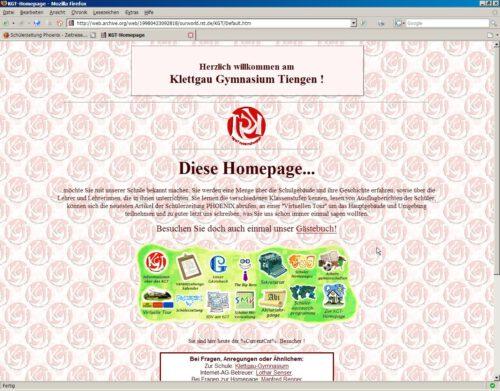 So sah sie aus, nun ist sie ganz erloschen - die erste KGT-Webseite. Immerhin existiert noch dieser letzte Screenshot, der für den Jahrbuch-Artikel zum 10jährigen Bestehen der KGT-Internetseite (1998) verfasst worden war.