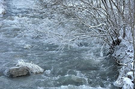 Eiskalter Schwarzbach - definitiv zu frostig zum Baden, aber hübsch anzusehen.