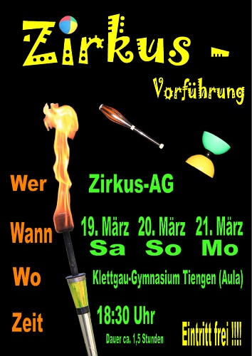 Aufführung der Zirkus-AG im März 2011 - Plakat