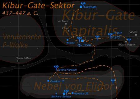 Kibur-Gate-Sektor mit nitramischen Hyperraumrouten und Stützpunkten der 12. Nitramischen Raumflotte ab 439 a. C.