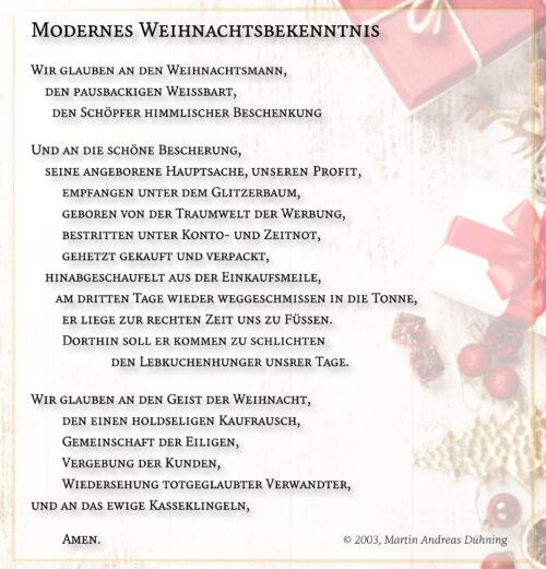 Modernes Weihnachtsbekenntnis (Text und Grafik: Martin Dühning)