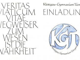 Das offizielle KGT-Schullogo, Teil des Schulemblems am KGT, wie es sich früher auf vielen offiziellen Einladungen fand - hier die Einladung zur Abitursfeier 1994.