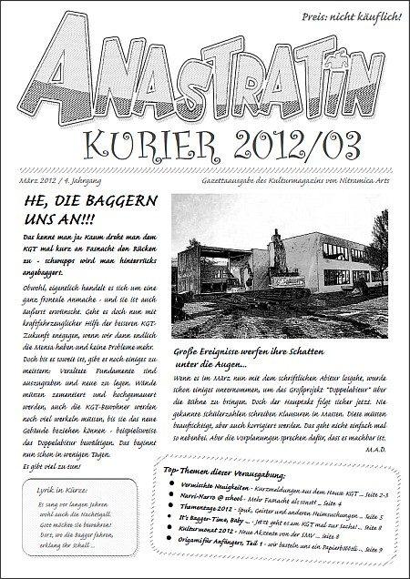 Die erste Seite von zwölf des Anastratin Kurier, Ausgabe 2012/03