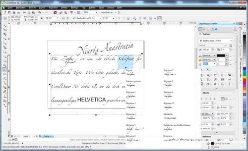CorelDraws neue Typografiemöglichkeiten am Beispiel der Schriftart Zapfino.