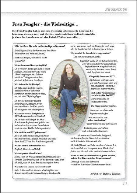 Interview mit Frau Fengler aus der Jubiläumsphoenix Nr. 50 - gesetzt in der Schriftart Chaparral Pro.