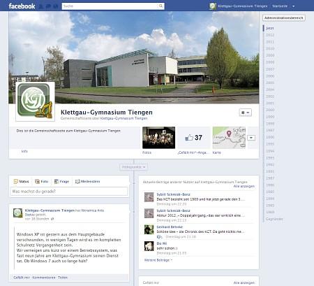 Die Geschichte des Klettgau-Gymnasiums als Facebook-Chronik. Wenn es gelingt, könnte das Projekt Zeitleiste und Diskussionsplattform gleichzeitig sein.