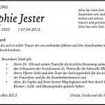 Danksagung für Sophie Jester