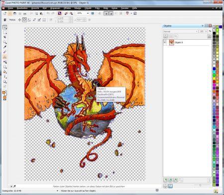 Kombinierte Drachengrafiken nach Entfernung des weißen Hintergrundes per Farbmaske.