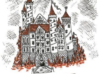 """Noch eine winzige Burg, darunter ein paar weitere Worte in nitramisch-andraskanischer Handschrift. Im großen Skizzenbuch ist auch das """"DIES IRAE"""" vertextet."""