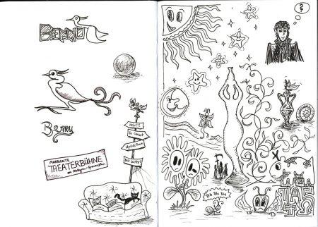 Das kleine Skizzenbuch enthält alles mögliche an thematisch teils unvorhersehbaren Motiven, genauso wie die Lehrerkonferenzen, in denen die Zeichnungen entstanden.