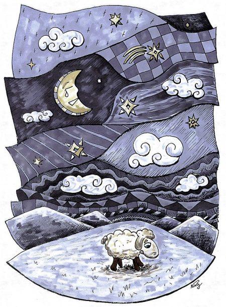 """""""Naive geometrische Depression - mit Schaf"""", colorierte Tuschezeichnung von Martin Dühning"""