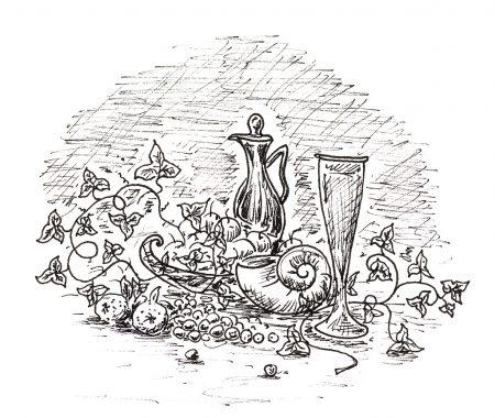 Winziges Stillleben aus dem kleinen Skizzenbuch. Im Original ist die Zeichnung nur 4 cm breit.