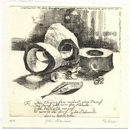 Diese persönlich gewidmete Radierung erstellte Roland Ueber für mein Poesiealbum 1994. Man sieht an ihr recht schön die Liebe zum Detail, die für seine Werke typisch sind. Dies ist das einzige Werk von Roland Ueber, das sich in meinem Besitz befindet.