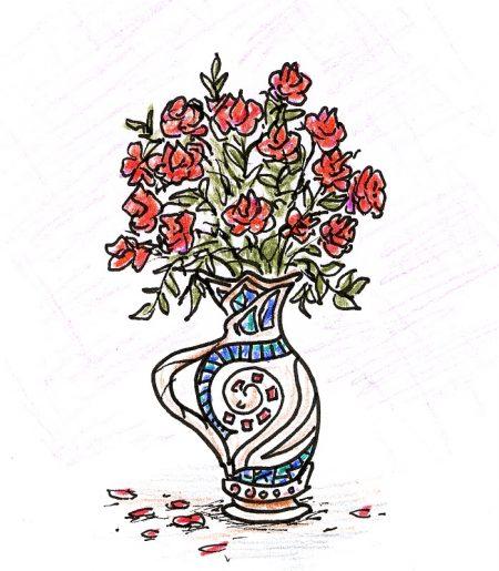 Rosen in einem Vasenentwurf