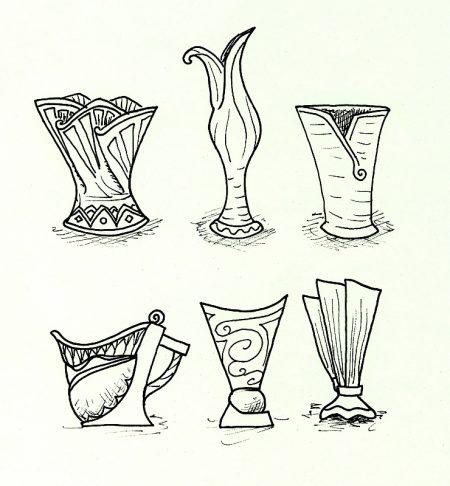 Einige weitere Vasenentwürfe auf grünem Konzeptpapier.