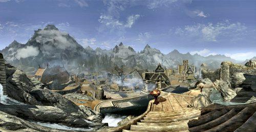 Panorama auf die Stadt Weißlauf von der Drachenfeste aus gemalt.
