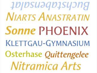Buchstabensalat in der Schriftart Aeris B von Linotype