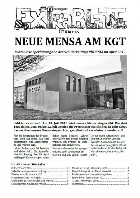 Titelblatt des Phoenix Extrablattes zur Mensa, April 2013