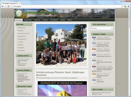 Die KGT-Webseite Ende Juni 2013 im grünen Niarts-Design mit KGT-Logo