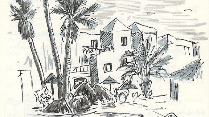 Die Hotelanlage von innen - Skizze aus dem Reisejournal