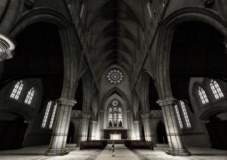 Virtuelle Kathedrale für die virtuellen Orgelfugen, gerendert mit DAZ Studio.