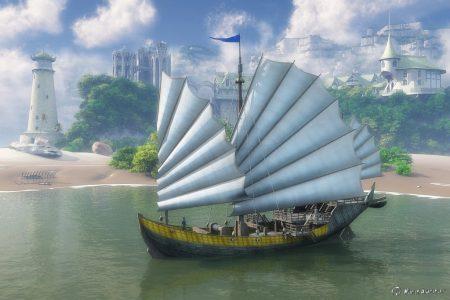 Nitramisches Segelschiff in einer Fantasielandschaft, gerendert mit Vue Infinite.