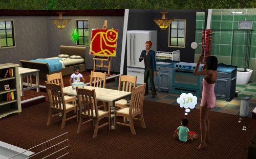 """Familienszene aus """"Die Sims 3"""" - alles sieht in dieser Version etwas hübscher aus als im Vorgänger - außer die Kinder."""