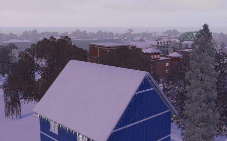 """Seit dem Addon """"Jahreszeiten"""" gibt es in """"Die Sims 3"""" Wettereffekte. Die gab es zwar schon im Vorgänger, in Verbindung mit der offenen Nachbarschaft eröffnen sie aber ganz neue Perspektiven - wie hier z. B. Tiefschnee im Winter."""