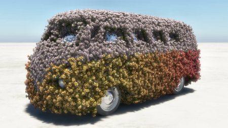 Flowerpower: Mit moderner CGI-Technik (hier Vue Infinite) lassen sich durchaus automobile Klassiker mit Blumen versehen, das geht natürlich auch mit der Hochrhein-Landschaft.