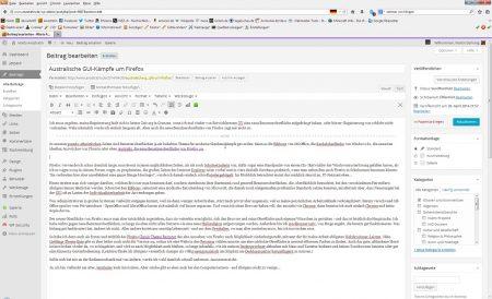 Schlicht, lichtgrau und mit meinen Menüs und Symbolleisten - so hat Firefox für meine Arbeit zu sein. Das geht auch mit Firefox 29, den zum Glück ist er weiterhin individualisierbar.