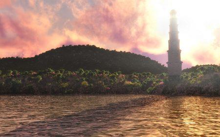Aurynas Drâs mit Blick auf den Leuchtturm im Sommer 459 a. C.