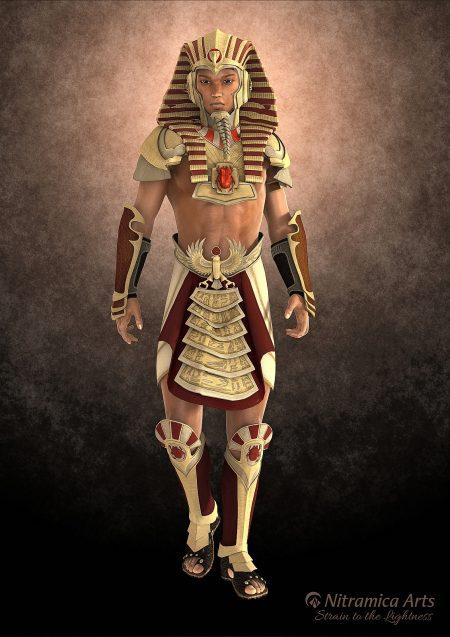 Ägyptischer Prinz, gerendert mit DAZ Studio 4.6+ - das Figurenmesh basiert auf Genesis 1, die Kleidung wurde von DAZ Michael 4 auf Genesis konvertiert. Die dabei auftretenden üblichen Schäden (vgl. Kopftuch) machen die Rüstung in diesem Fall sogar lebensechter.