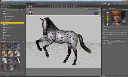 Ein generisches Pferd in der Texturierungsansicht von DAZ Studio 4.6+.