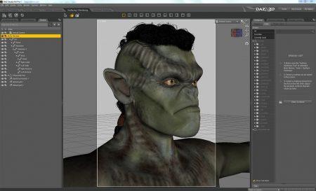 """Der """"freundliche Ork von nebenan"""" - in der Texturierungsansicht von DAZ Studio 4.6+ - die Basisfigur ist Genesis 1, der Ork-Morph wurde mit GenX von Victoria 4 importiert. Die Texture stammt von """"Talarian Alien"""" für Genesis I. Um wirklich """"lebensecht"""" zu wirken, fehlen allerdings noch die für Orks typischen Narben - selbst die Ohren sind zu unversehrt für eine Kriegerkreatur der Finsternis. All dies muss per Retusche nach dem Rendering von Hand hinzugemalt werden."""