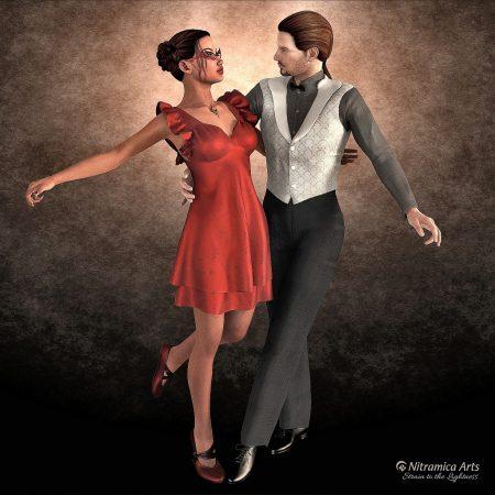 Tanzpärchen, bestehend aus 2 x Genesis 1 - besonders an der männlichen Variante erkennt man typische Stereotypen: Zu glatte, symmetrische Formen und schablonenhaftes Haar. Realistischer wäre ein unvollkommerer Körper.