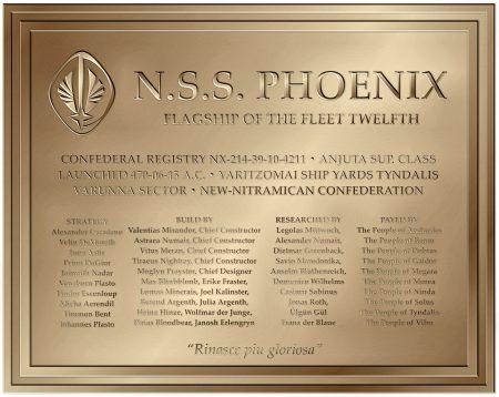 Widmungstafel der N.S.S. Phoenix (D). Das nunmehr vierte Sternenschiff mit diesem Namen soll wieder Flaggschiff der neuen 12. Flotte werden.