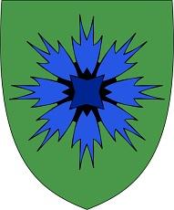 Wappen des Königreichs Kournia: Eine blaue Kornblume auf grünem Grund