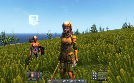 Unser Hauptcharakter und einer seiner beiden NPC-Unterstützer im Storymodus von Planet Explorers.