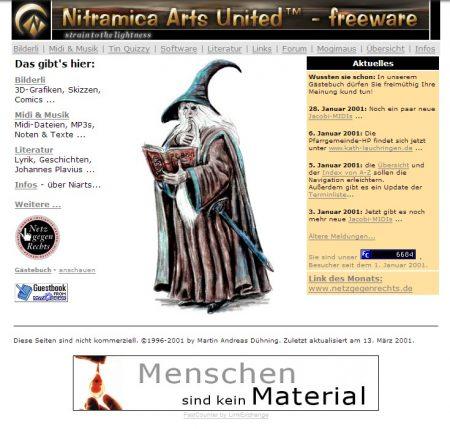 Eine frühere Version der Niarts-Webseite aus dem Jahr 2001.