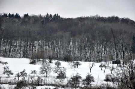Schneebedeckte Hügel: Ganz fototauglich ist das Wetter so noch nicht mangels Farben, es sei denn, man steht auf natürliche Schwarzweißkontraste. (Foto: Martin Dühning)
