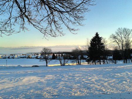 Den Hochschwarzwald wie hier Höchenschwand am 12. Februar hält der Winter noch fest im Griff. Doch stehen die Alpen in der Ferne nun wieder erst nach 17 Uhr im Abendsonnenschein - und in absehbarer Zeit wird die Sonne wieder stark genug sein, den Hochnebel im Rheintal aufzulösen (Foto: Martin Dühning).
