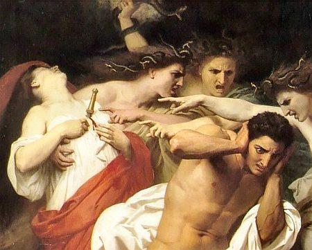 William Bouguereau (1825-1905): Orest wird von den Rachegöttinnen verfolgt. Quelle: Wikimedia Commons, gemeinfrei