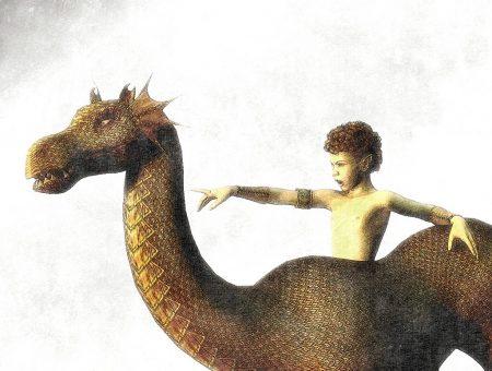 Kobold mit Märchendrachen